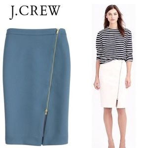 J.Crew Blue Assymetrical Zip Pencil Skirt Size 4